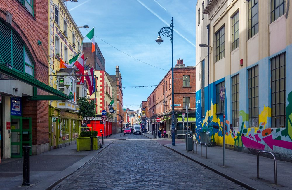 Colourful streets in Temple Bar, Dublin, Ireland