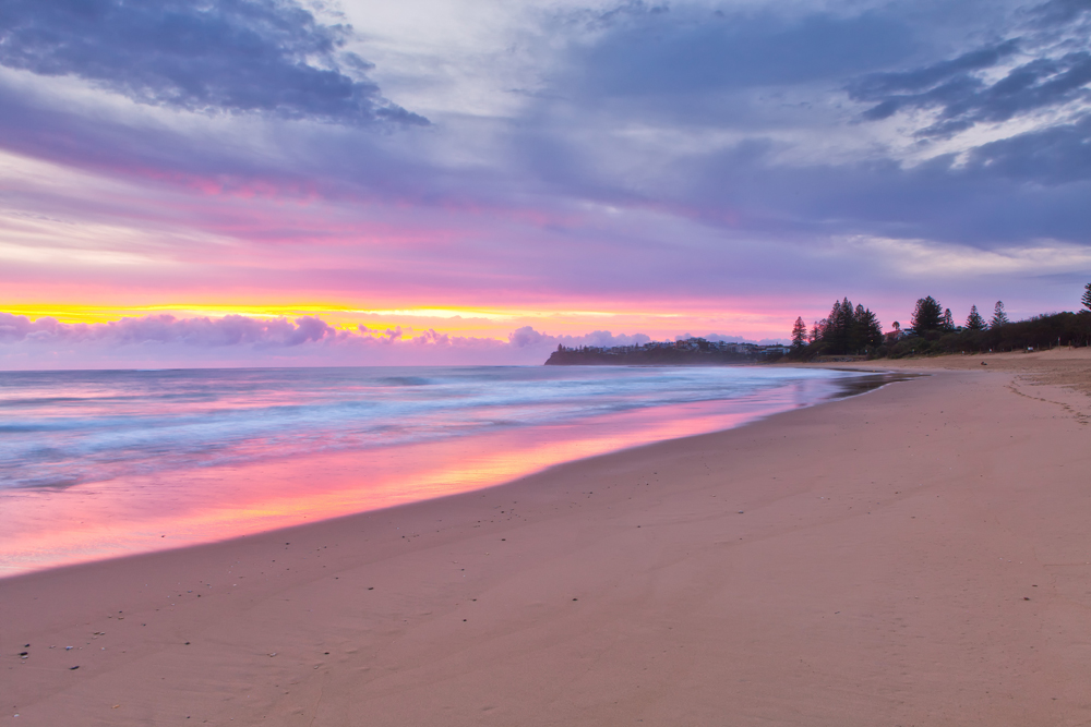 Dicky Beach sunrise in Caloundra on the Sunshine Coast, Queensland, Australia