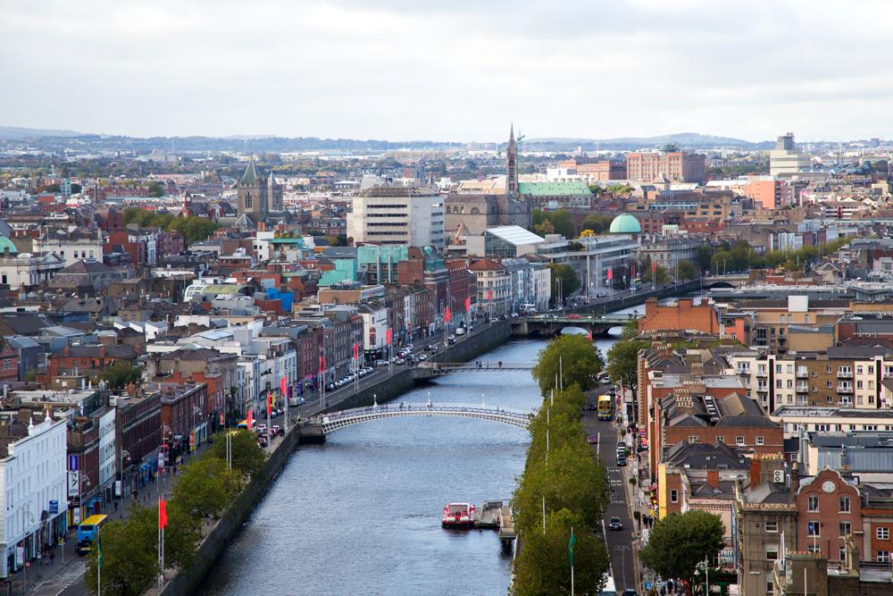 Dublin Skyline and Liffey River, Dublin, Ireland