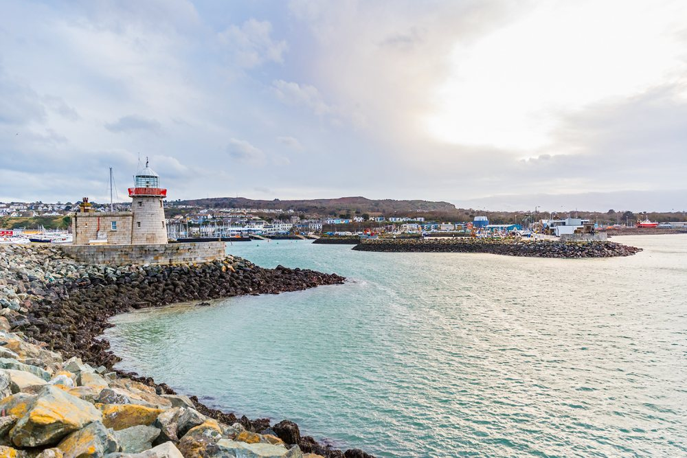 Howth lighthouse and harbour at Dublin Bay, Ireland