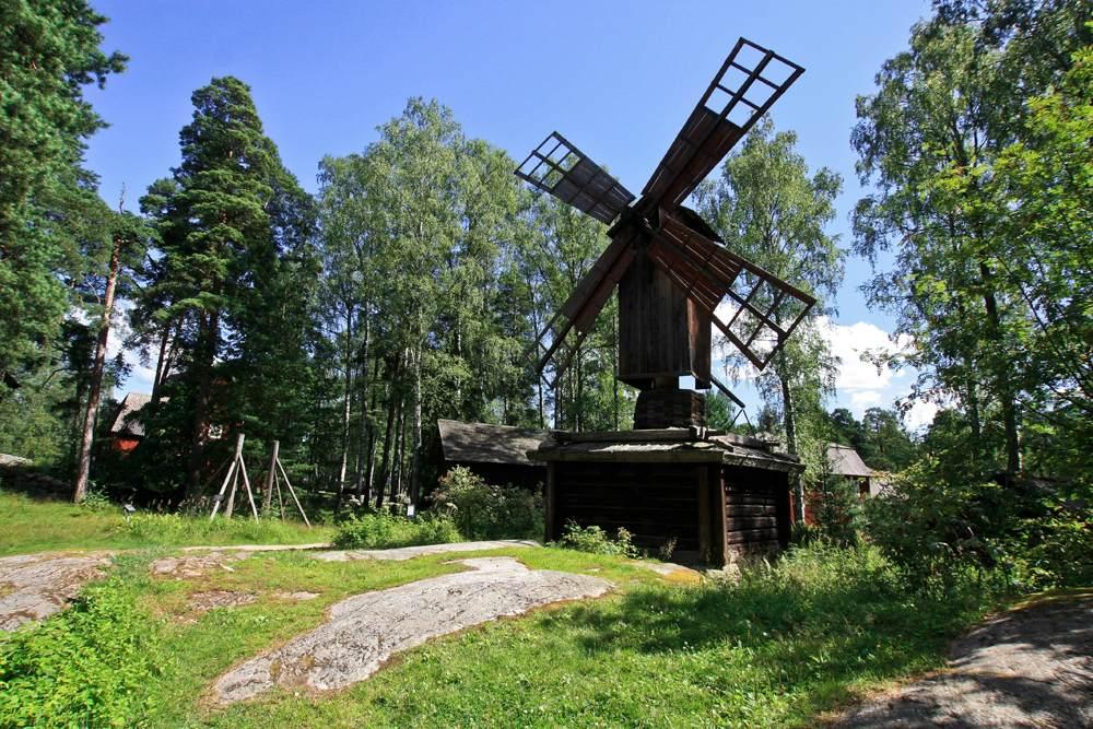 Old wooden mill in Seurasaari, Helsinki, Finland