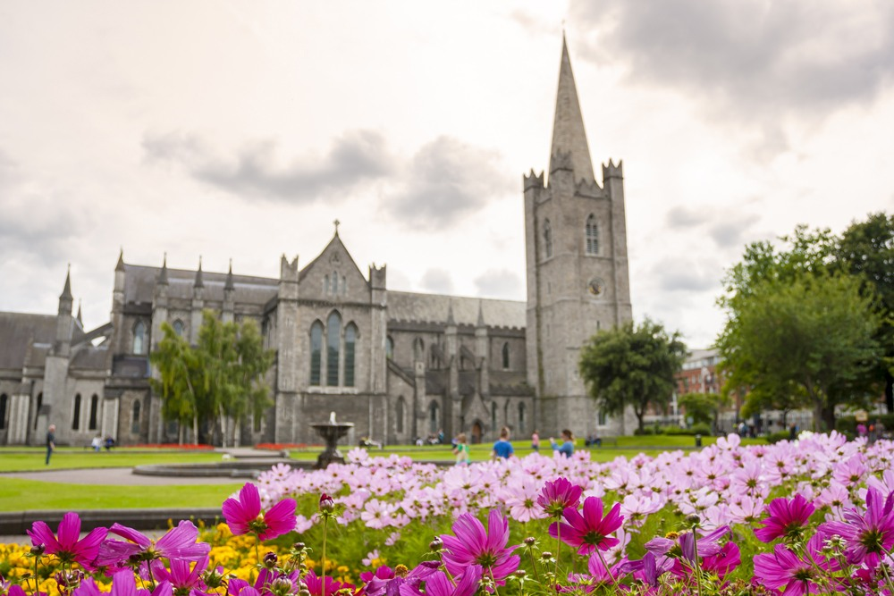 Saint Patrick's Cathedral and Garden in Dublin, Ireland