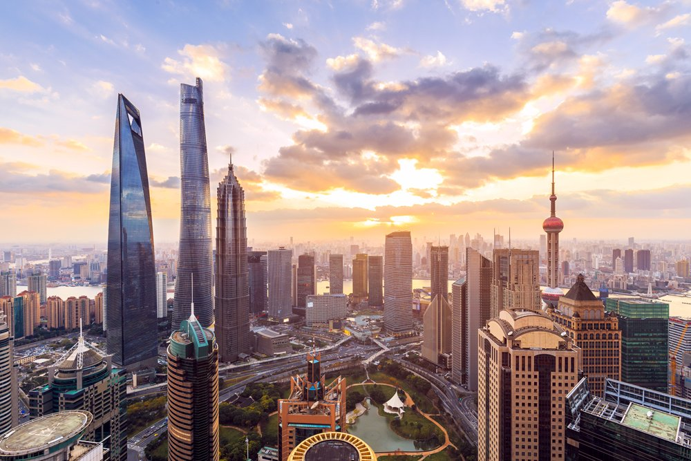 Shanghai skyline and cityscape at sunset, China