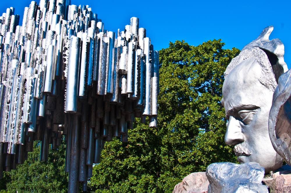 Sibelius Monument and bust of Sibelius in Helsinki, Finland