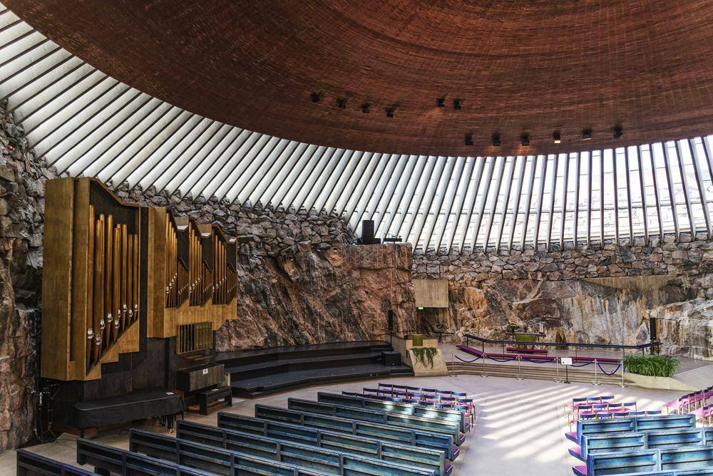 Temppeliaukio rock church interior, Helsinki, Finland