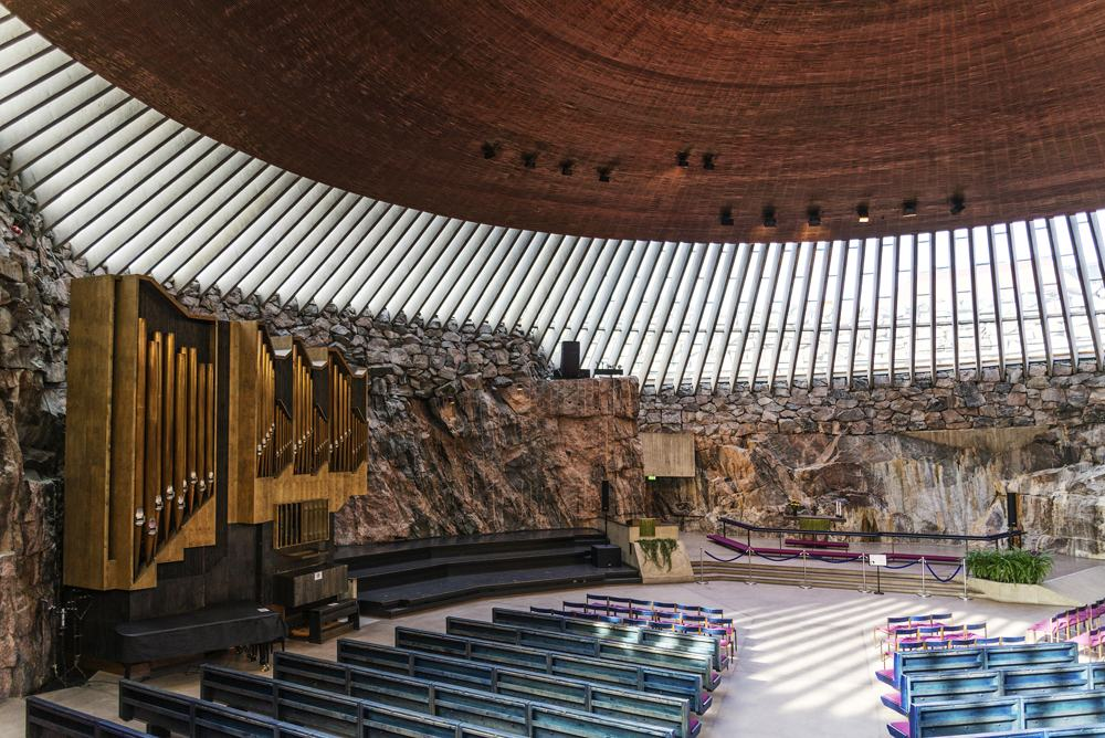 Temppeliaukio rock church interior, Helsinki, Finland