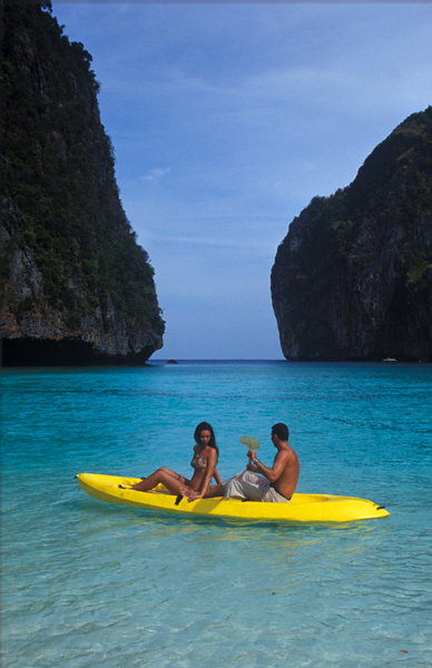 Honeymooners kayaking at Hong Island in Than Bok Khorani National Marine Park, Krabi