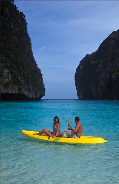 Honeymooners kayaking at Hong Island in Than Bok Khorani National Marine Park, Krabi