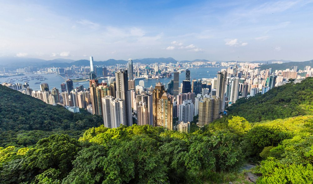 View of Hong Kong and Kowloon from Victoria Peak in Hong Kong, China