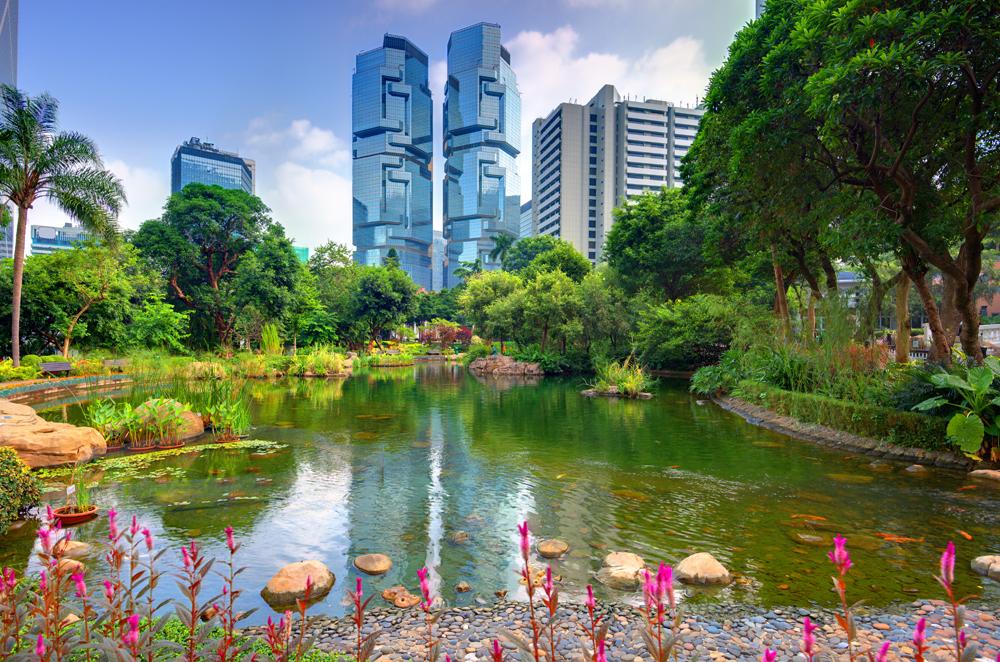View of highrises from Hong Kong Park in Hong Kong, China