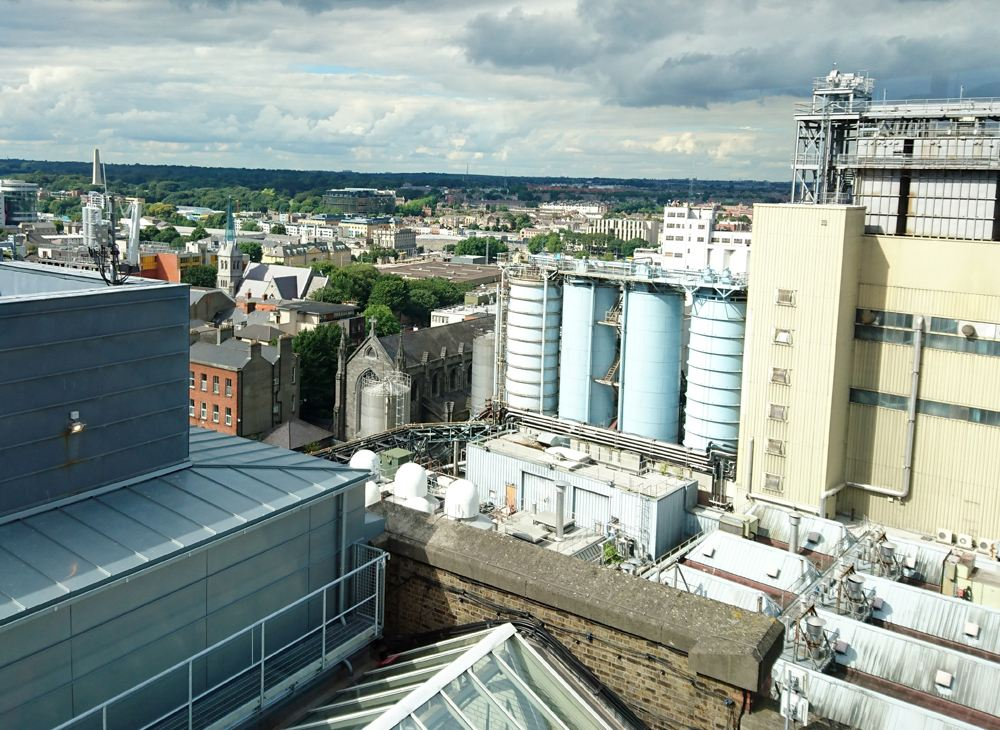 View over Guinness Brewery from Gravity Bar at Guinness Storehouse in Dublin, Ireland