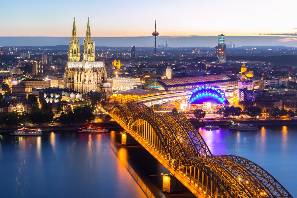 Aerial view of Cologne Cathedral and Hohenzollern Bridge, Cologne, Germany