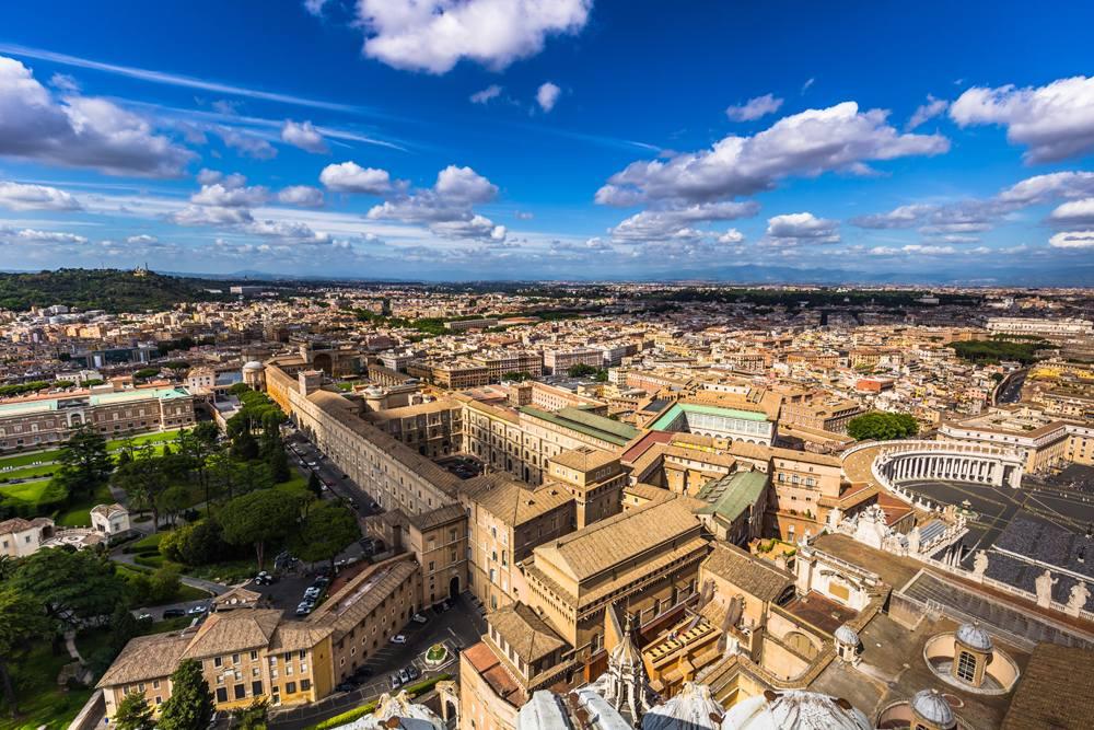 Aerial view of Vatican Museum, Vatican City, Italy