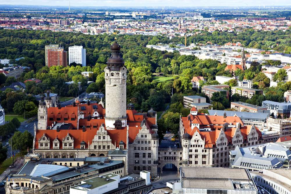 Aerial view of the new town hall and the Johannapark at Leipzig, Germany