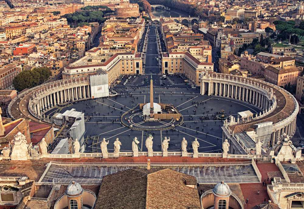 Aerial view over St Peter's Square (Piazza San Pietro) in Vatican City, Italy