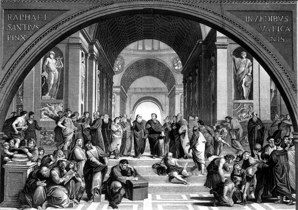 B&W depiction of School of Athens by Raphael, 400 BC, Engraving