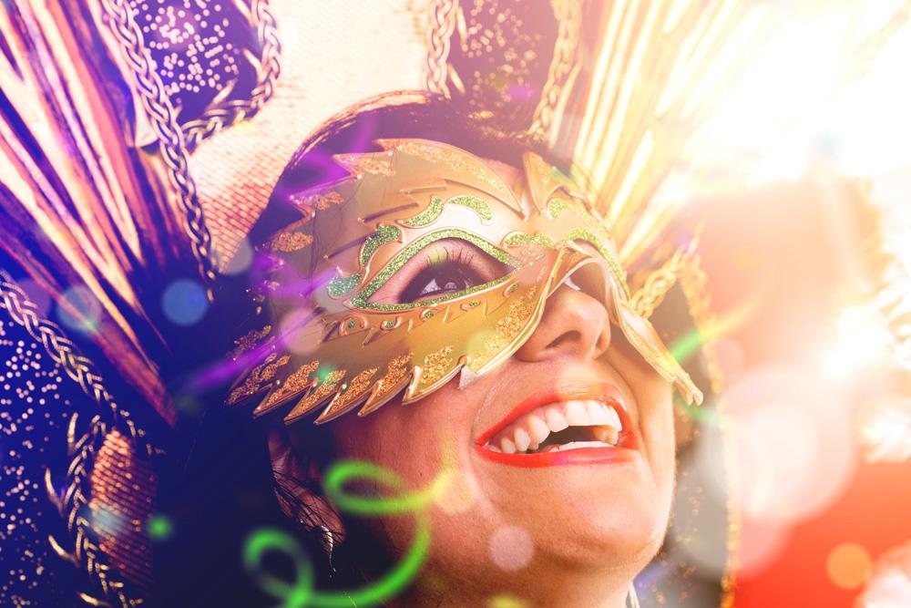 Brunette Brazilian wearing Carnival costume, Brazil