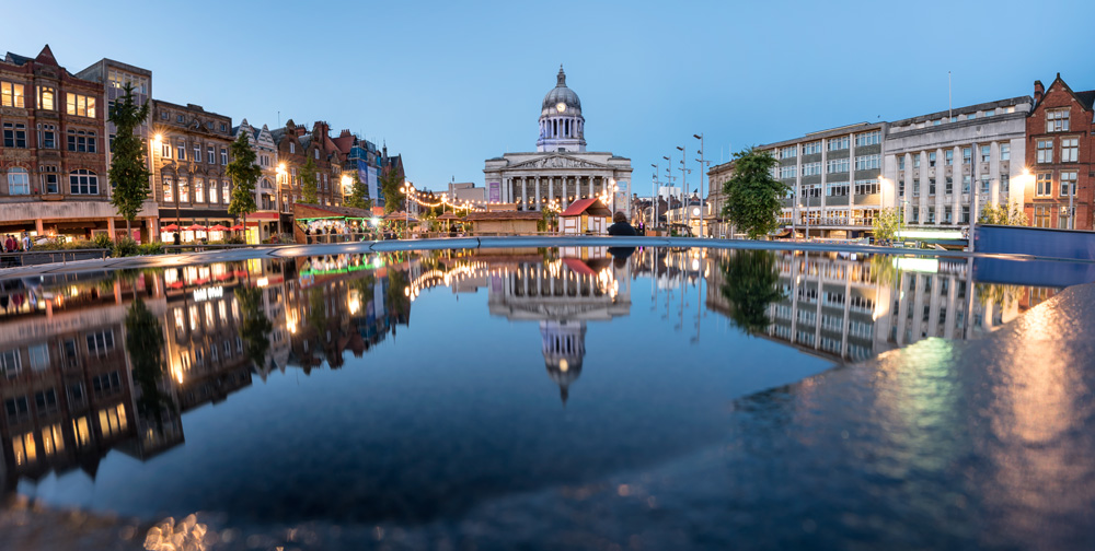 Council House or City Hall and fountain in the Old Market Square, Nottingham, England, UK (United Kingdom)