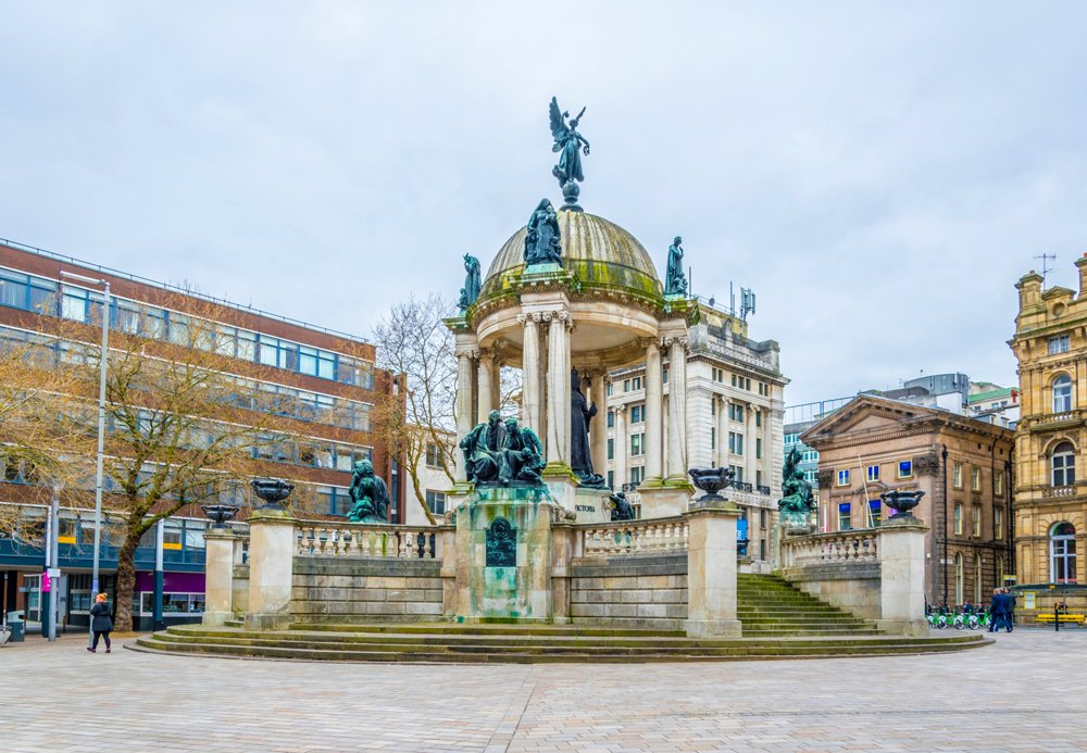 Derby Square dominated by Queen Victoria monument in Liverpool, England, UK (United Kingdom)