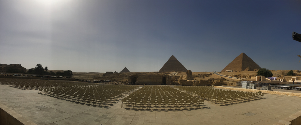 Emma Cottis - Setting up for the Pyramid sound and light show in Giza, Egypt