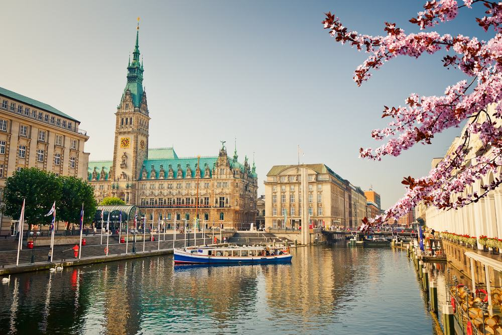 Hamburg town hall and Alster River at spring, Germany