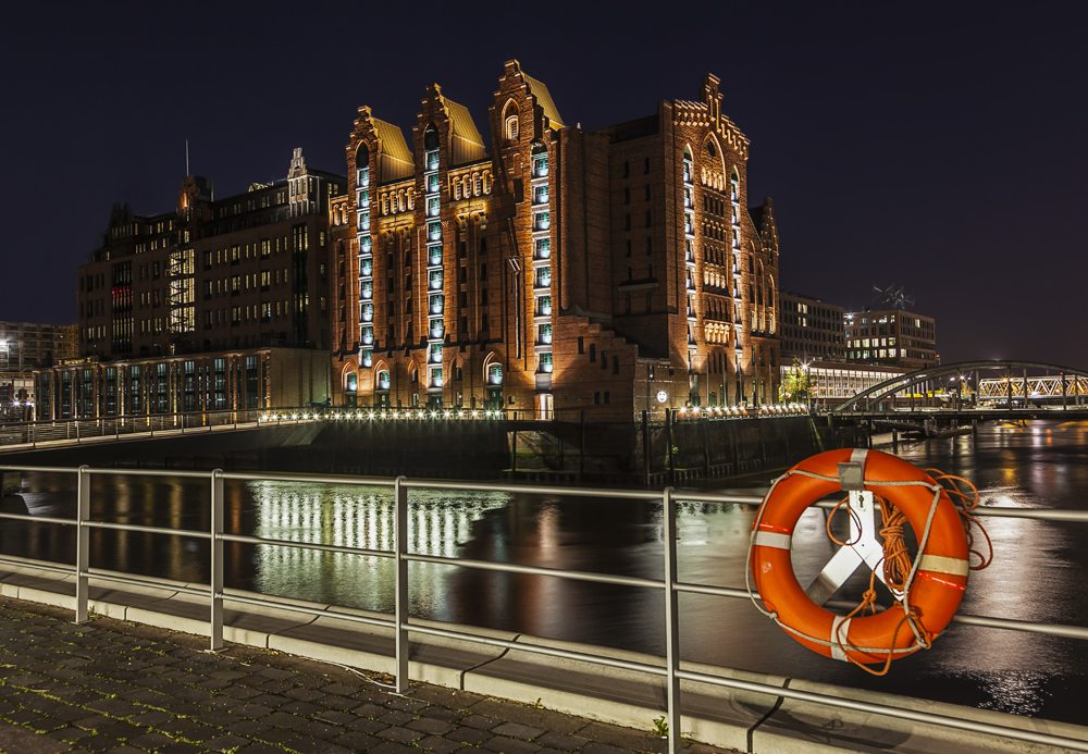 International Maritime Museum at night in Speicherstadt, Hamburg, Germany