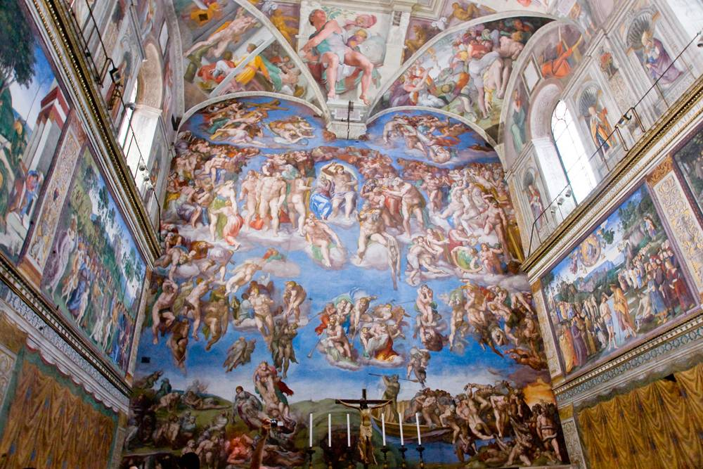Michelangelo's The Last Judgment on altar wall of Sistine Chapel, Vatican City, Italy