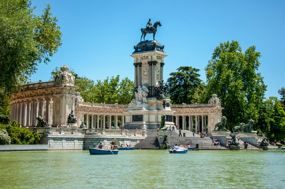Monument to Alfonso XII at Buen Retiro Park in Madrid, Spain
