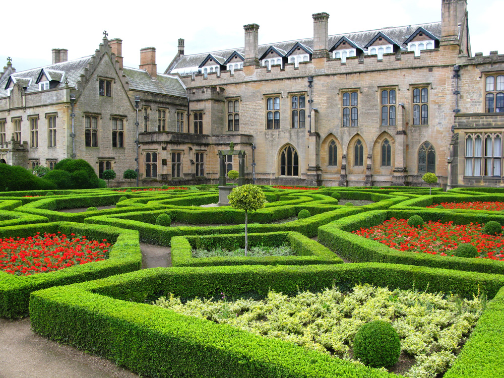 Newstead Abbey and Spanish garden, Nottingham, England, UK (United Kingdom)