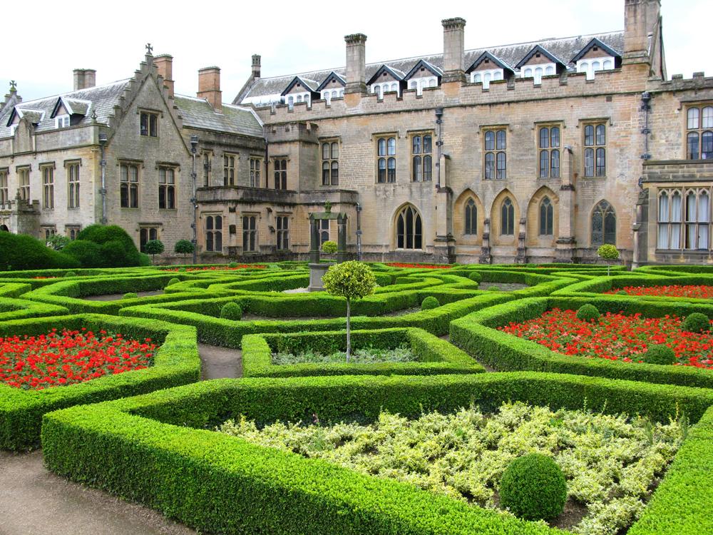 Newstead Abbey and Spanish garden, Nottingham, England, UK (United Kingdom)