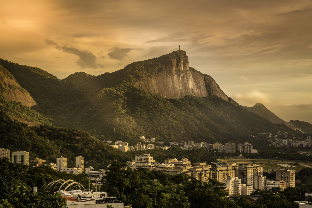 Panoramic sunrise view of Rio de Janeiro with Corcovado Hill, Brazil