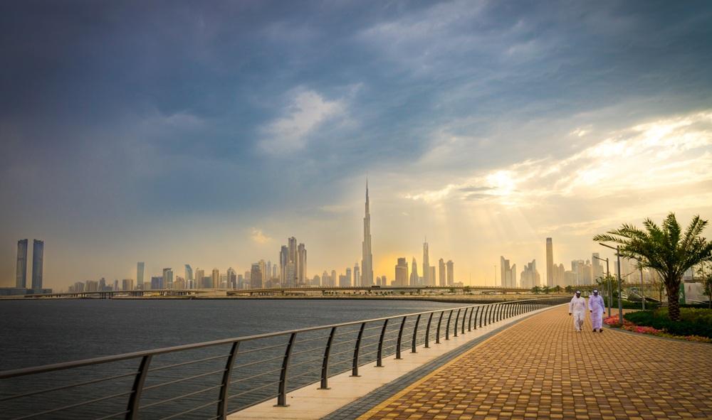 Panoramic view from promenade of Dubai's business district, Dubai, UAE (United Arab Emirates)