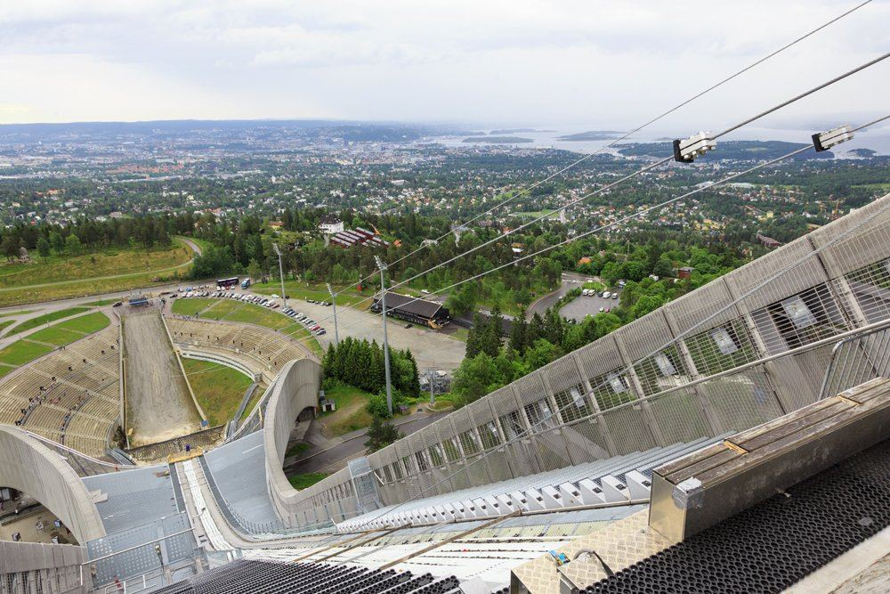 Panoramic view of Oslo from top of Holmenkollen Ski Jump, Oslo, Norway