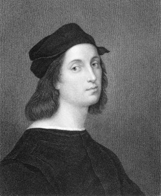 Raphael (1483-1520) Engraved by W Holl and published in The Gallery of Portraits with Memoirs encyclopedia, UK, 1833
