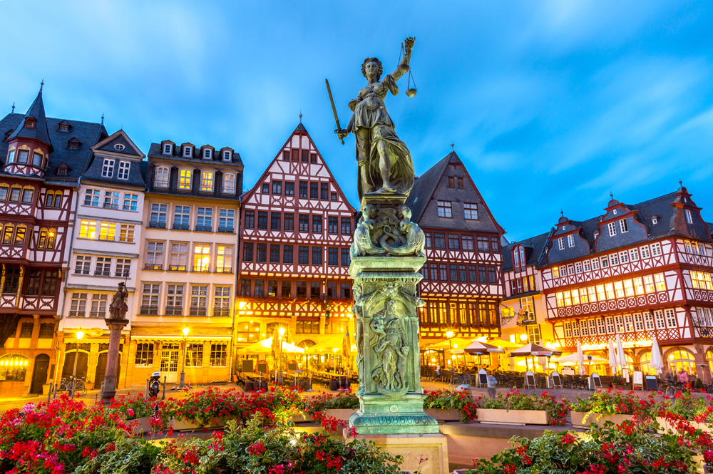 Romerberg Old Town Square with Justitia Statue, Frankfurt, Germany