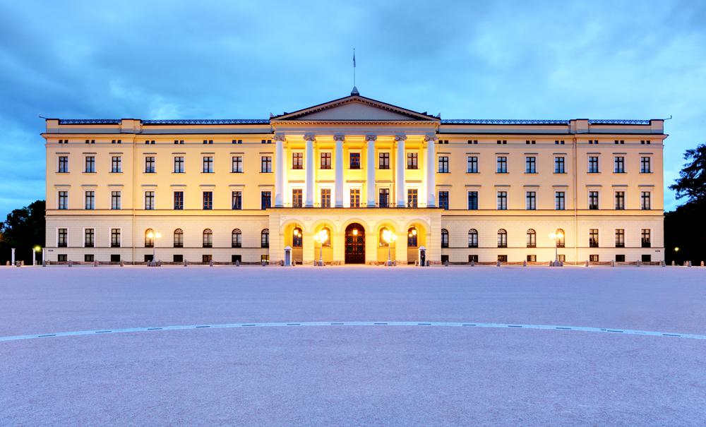 Royal Palace at night, Oslo, Norway