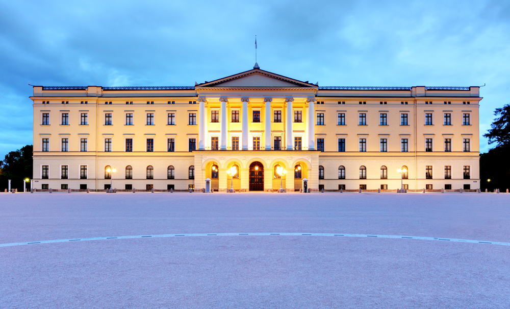 Royal Palace at night, Oslo, Norway