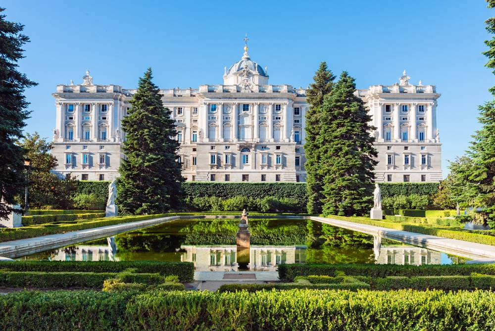 Royal Palace in Madrid, viewed from the Sabatini Gardens, Madrid, Spain
