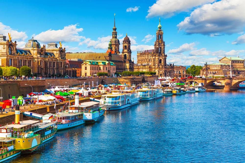 Scenic summer view of the Old Town architecture along Elbe River embankment, Dresden, Germany