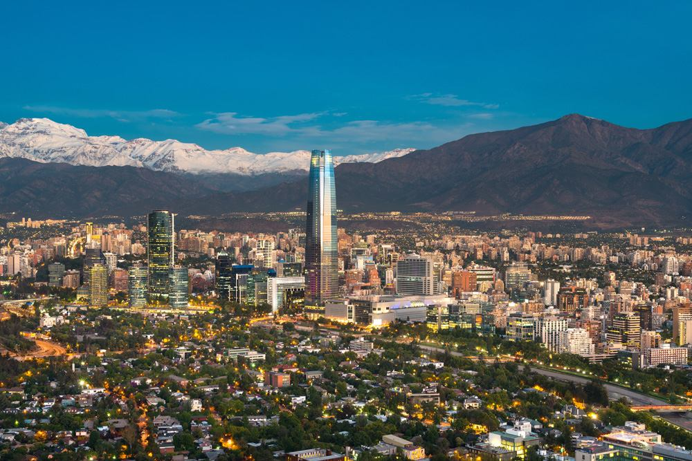 Skyline of Santiago de Chile at the foots of the Andes Mountain Range, Santiago, Chile