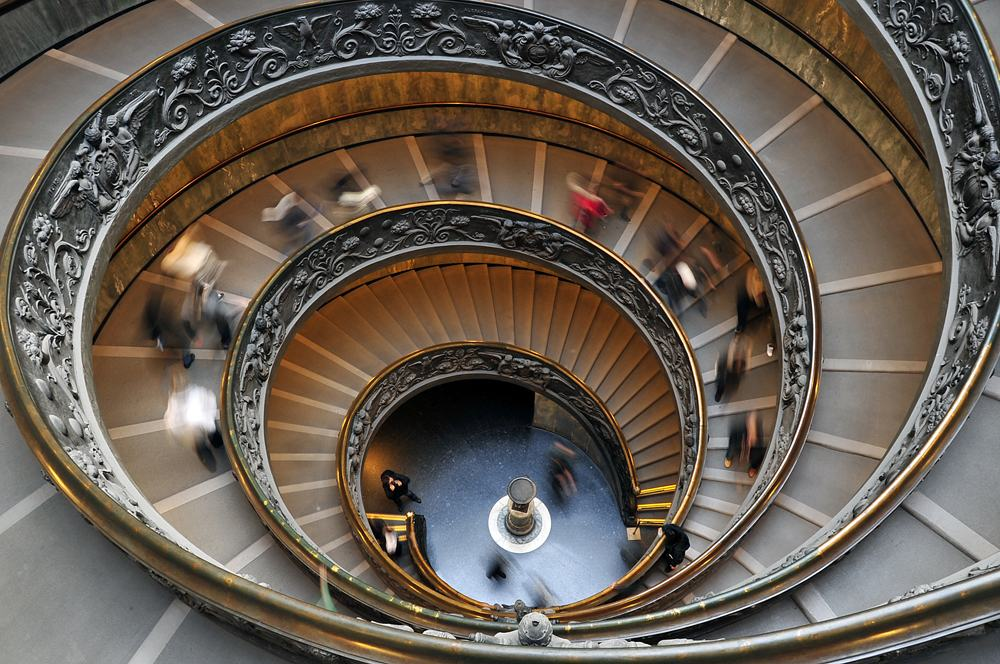 Spiral Stairwell in the Sistine Chapel Museum, Vatican City, Italy