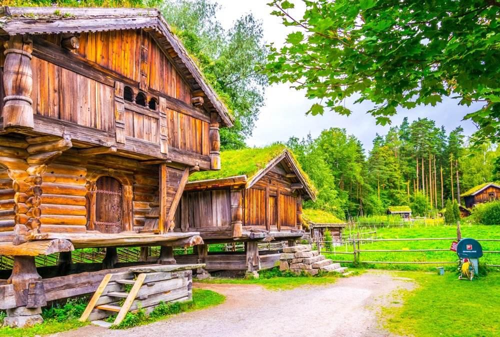 Traditional farmhouse in the Norwegian Folk Museum in Oslo, Norway