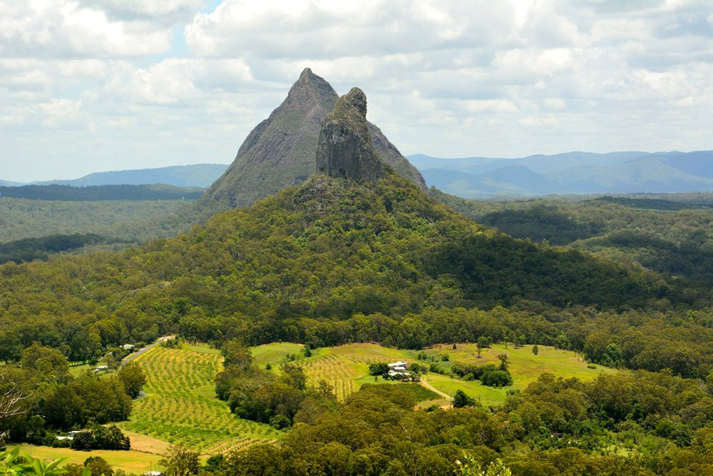 View of Mountains Beerwah and Coonowrin in Glass House Mountains region in Queensland, Australia