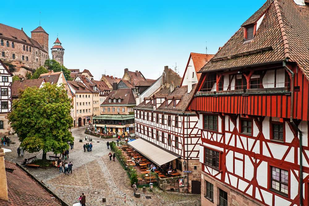 View of medieval architecture with half-timbered buildings in the Old Town, Nuremberg, Germany