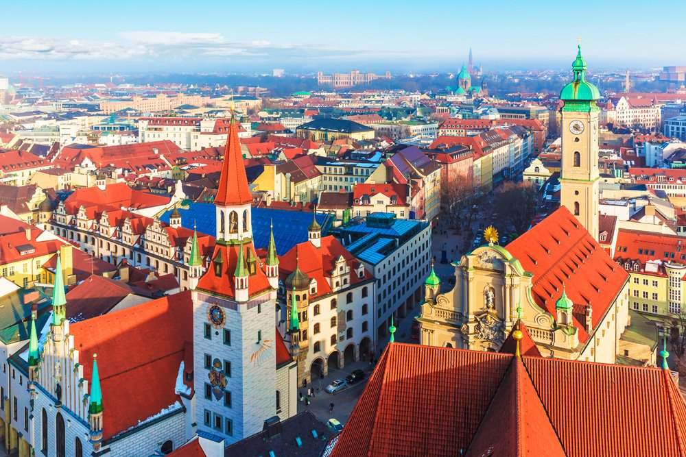 Aerial panorama of the Old Town architecture of Munich, Bavaria, Germany