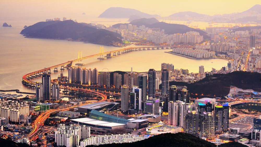Aerial view of Busan skyline at sunset, South Korea