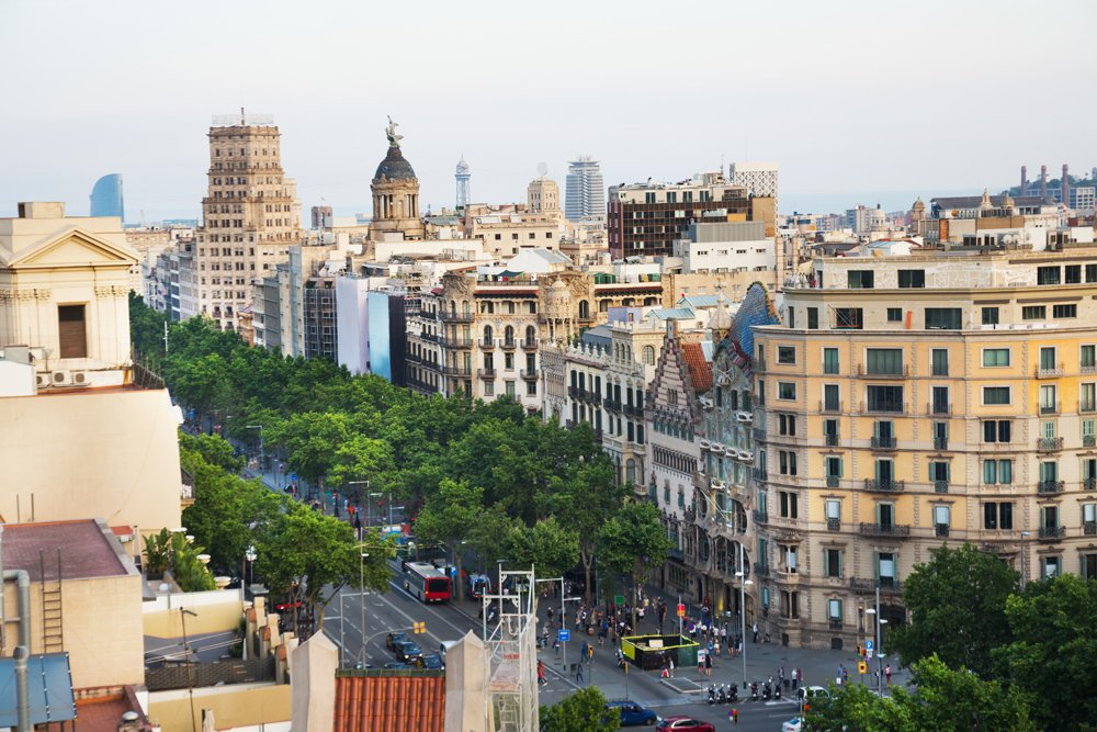 Aerial view of Passeig de Gracia's major avenues in Barcelona, Spain