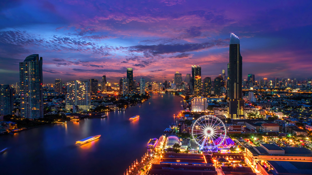 Bangkok and Chao Phraya River at twilight, Bangkok, Thailand