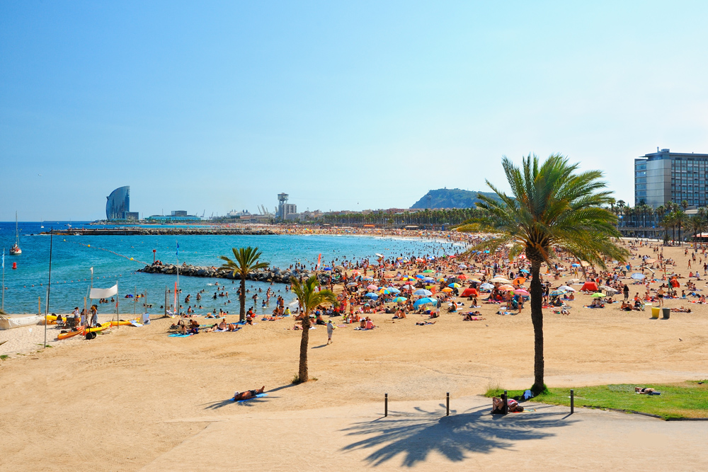 Barcelona beach in La Barcenoleta on a summer day, Barcelona, Spain