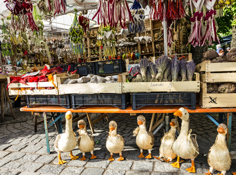 Bavarian souvenirs at Viktualienmarkt, Munich, Germany